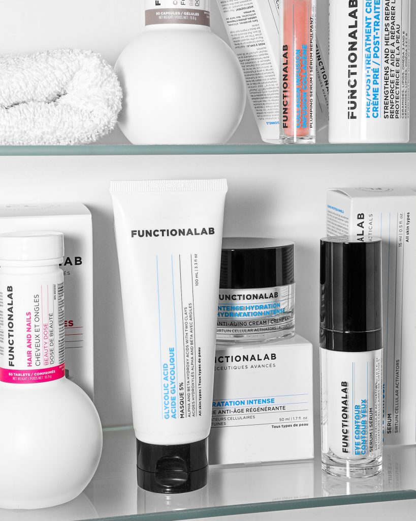 Skincare products in the bathroom